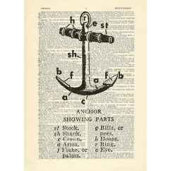 Paper Airplane Diagram Of Parts John Deere 250 Skid Steer Wiring Anchor Boat Ship Sailing Sea Printed On Upcycled Etsy Image 0