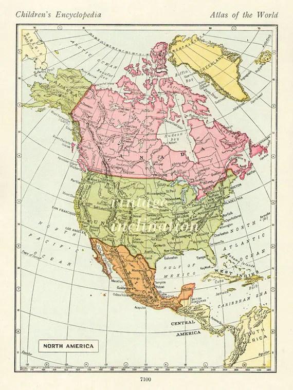 Carte Etats Des Etats Unis : carte, etats, Vintage, Carte, États, Canada, Amérique