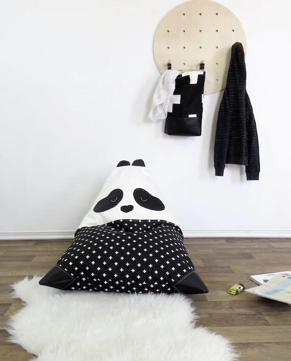panda bean bag chair swivel ikea bear kids toddler black and white etsy image 0