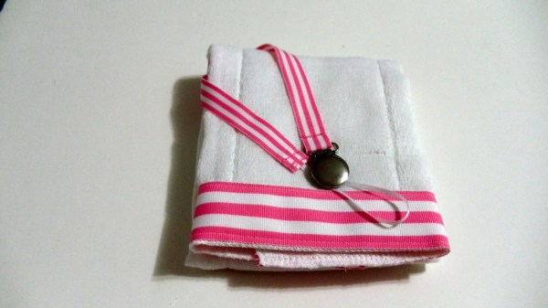 Pink White Stripe Grosgrain Ribbon Burp Cloth And Pacifier