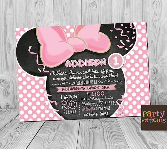 minnie 1st birthday invitation printable minnie mouse party invitations first birthday pink gold invite minnie 1st birthday invite