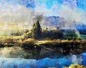 Green field Watercolor painting, Printable wall art, Original artwork print, Gift Idea, digital download, nature, countryside