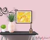 YELLOW ABSTRACT painting,...