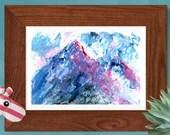 Mountain peak abstract impasto painting, printable wall art, palette knife print original textured landscape artwork modern minimalist decor