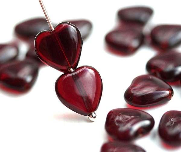 10mm Dark Red Heart Beads Garnet Czech Glass Pressed