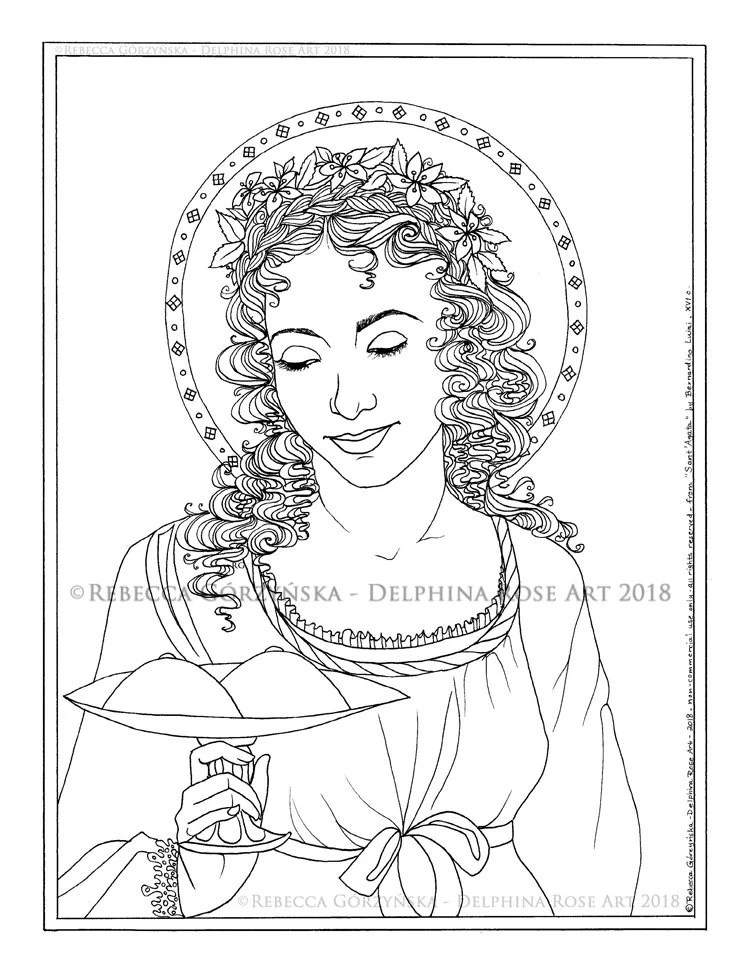 St. Agatha Coloring Page Christian Catholic Art