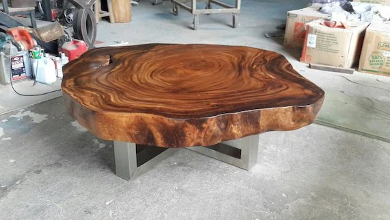 coffee table round live edge acacia wood solid slab with stainless steel leg base custom made air freight home delivery