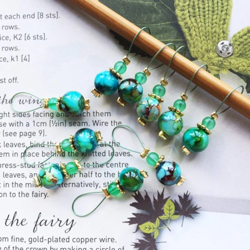 10 Knitting stitch markers Jade jewels image 0