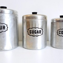 Canisters Kitchen Under Lighting For Cupboards Etsy Mid Century Set Of 3 Aluminum Canister Vintage Retro Made In Italy Floyd Jones