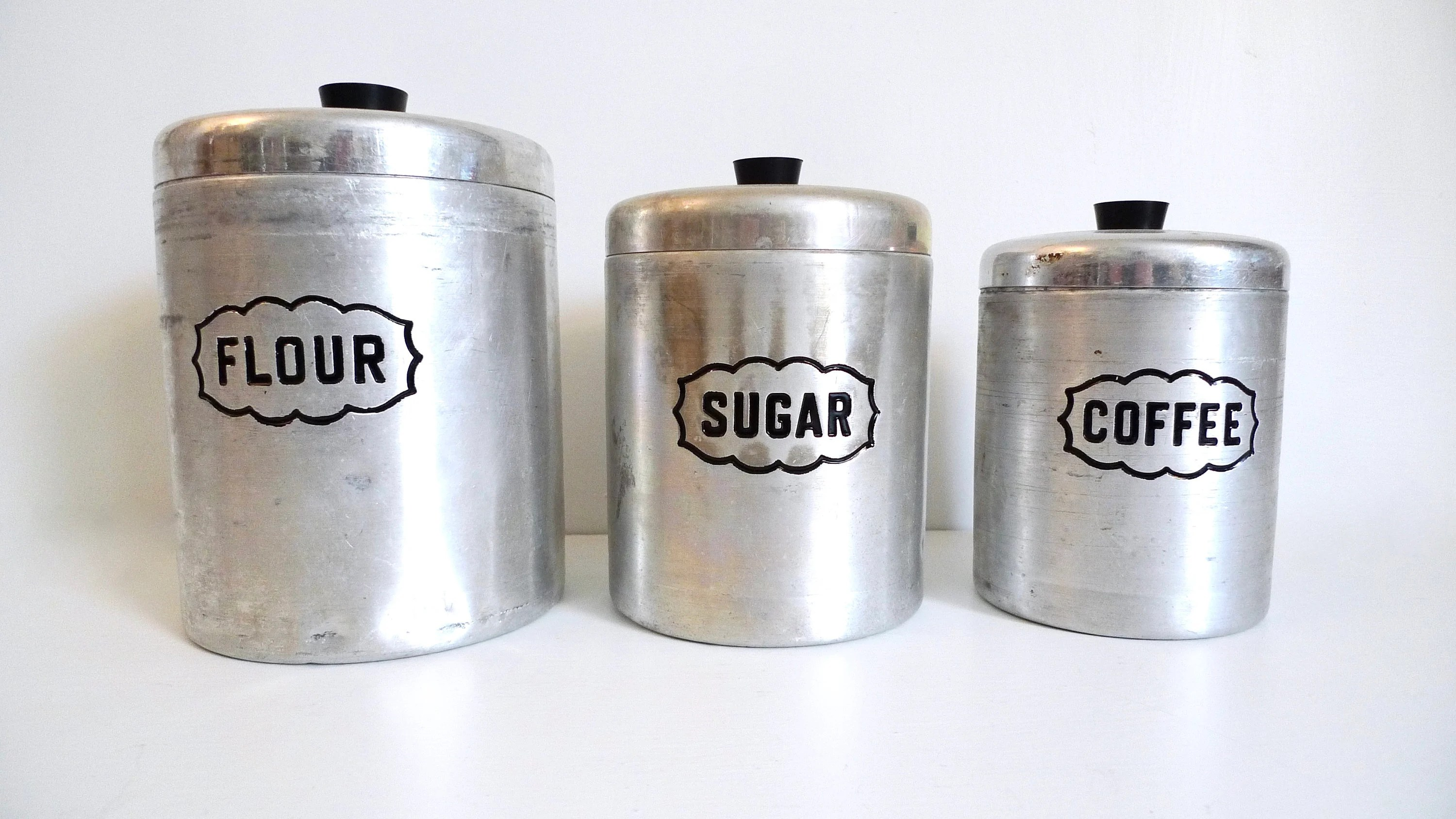 canisters kitchen small outdoor ideas etsy mid century set of 3 aluminum canister vintage retro made in italy floyd jones