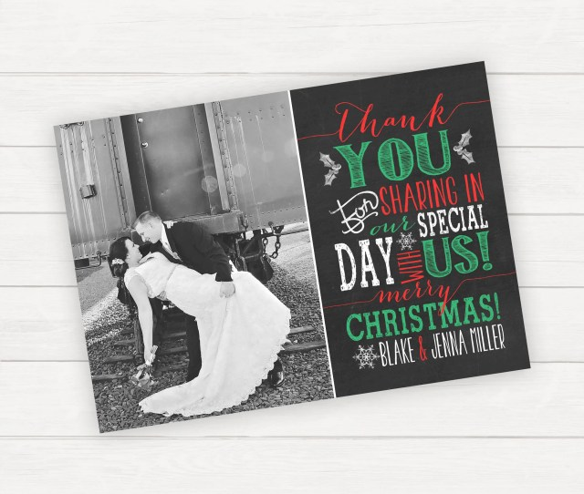 Wedding Thank You Card Christmas Wedding Photo Thank You Card Christmas Card Printable Thank You Card Newlywed Christmas Card