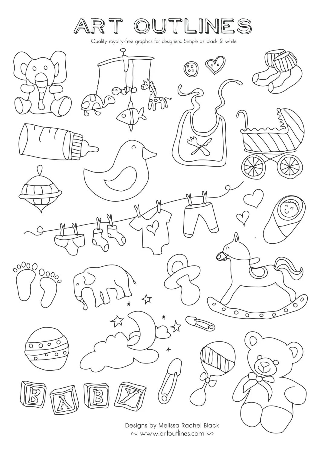 Set of Baby Illustrations Art Outlines Full Page 32