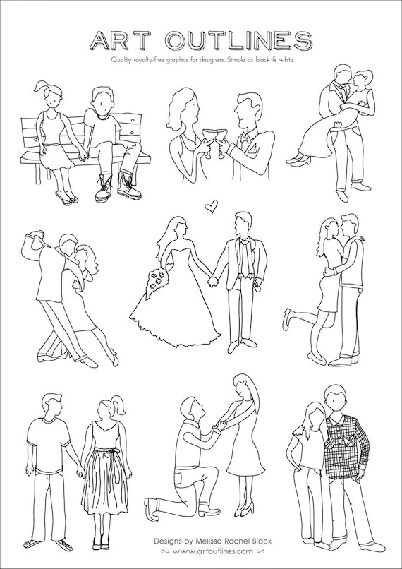 Set of Couples Art Outlines Full Page Set of 9 Original Hand