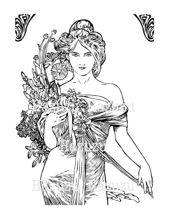 MUCHA PNG art nouveau vintage woman overlay card instant