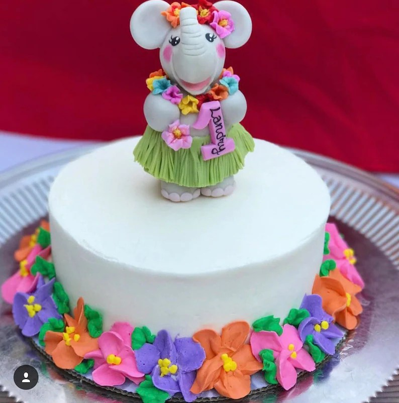First Birthday Cake Topper For A Baby Girl Elephant Cake Etsy