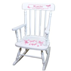 Rocking Chairs Nursery Ireland Baby Doll Stroller And Highchair Set Personalized White Childrens Chair With Shamrock Etsy Pink Pinks Butterfly Flower Rocker Child Size Toddler Gift Garden Spin Whi 300a