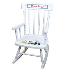 Toddler Wooden Rocking Chair Lounge Covers Ebay Childs Etsy Personalized White Childrens With Blue Tractor Cute Boy Fun Play Time Playtime Bluetractor Design Spin Whi 211c