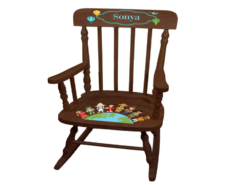 small rocking chairs high end chair etsy personalized it s a world espresso childrens childs rocker disney international children globe spin esp 266