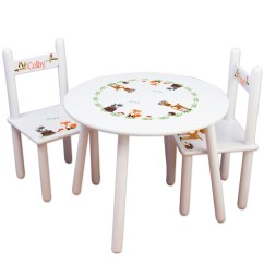 Bedroom Chair Table Set Folding Plans Kids And Furniture For Elephant Nursery Etsy Woodland Animal Chairs Forest Play Room Child S Round Personalized Tableset 218