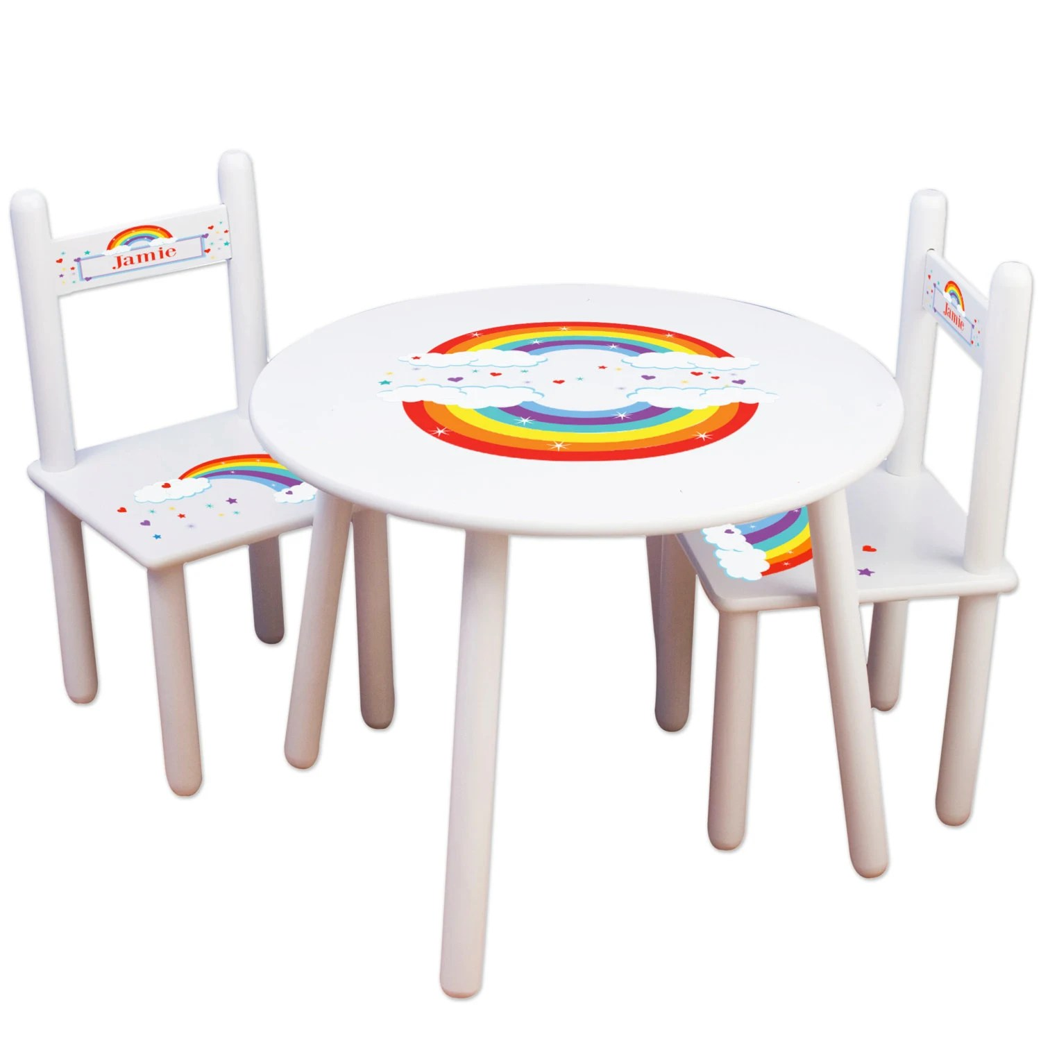 Little Kid Chairs Childs Rainbow Table Chair Set Personalized Kids Furniture Playroom Classroom Rainbows Primary Colors Toddler Play Table Tablesetrnd