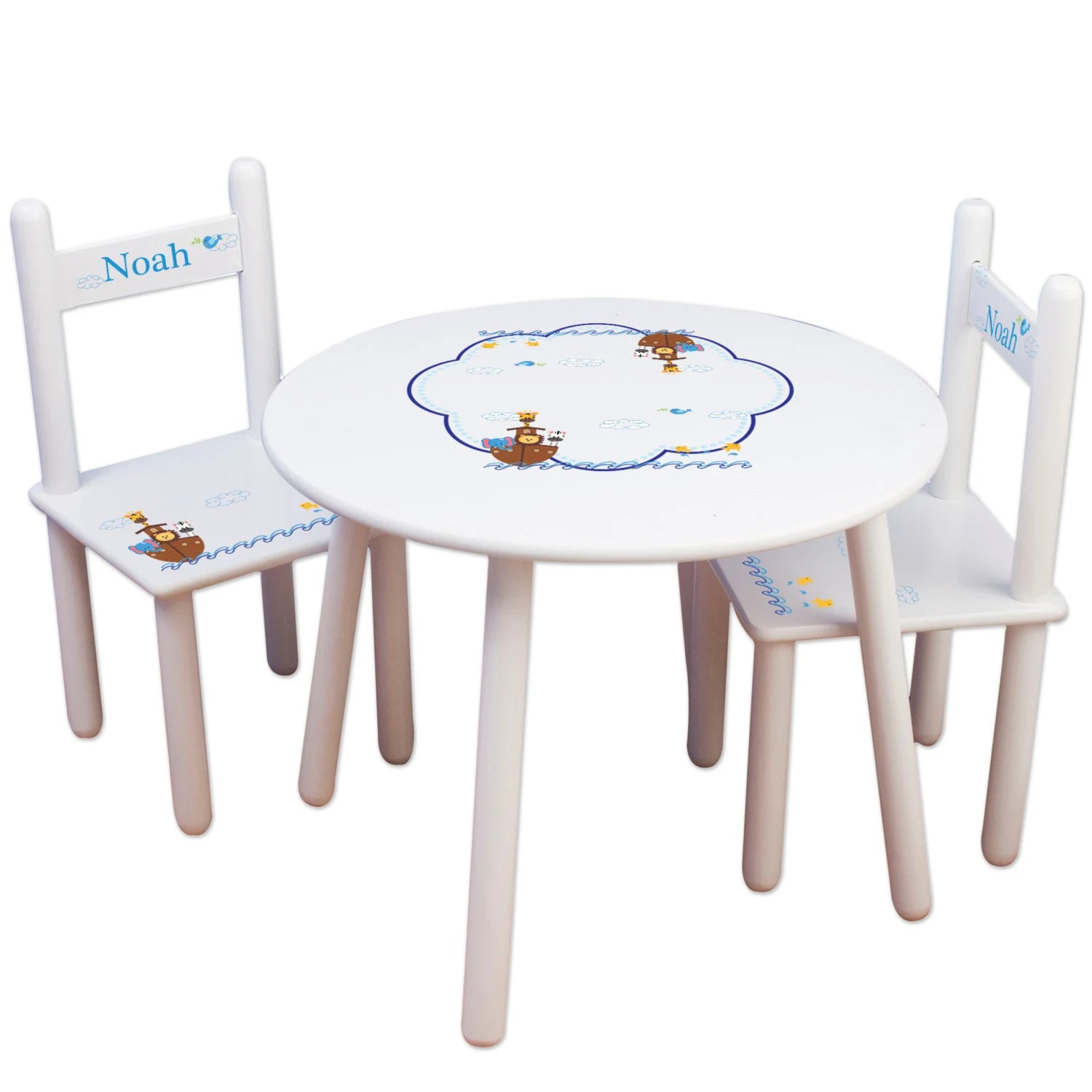 Personalized Chairs For Baby Personalized Child S Table Chair Set With Noahs Ark Animals For Baby Toddler Childrens Playroom Nursery Bedroom 2 Chairs Tablesetrnd 209