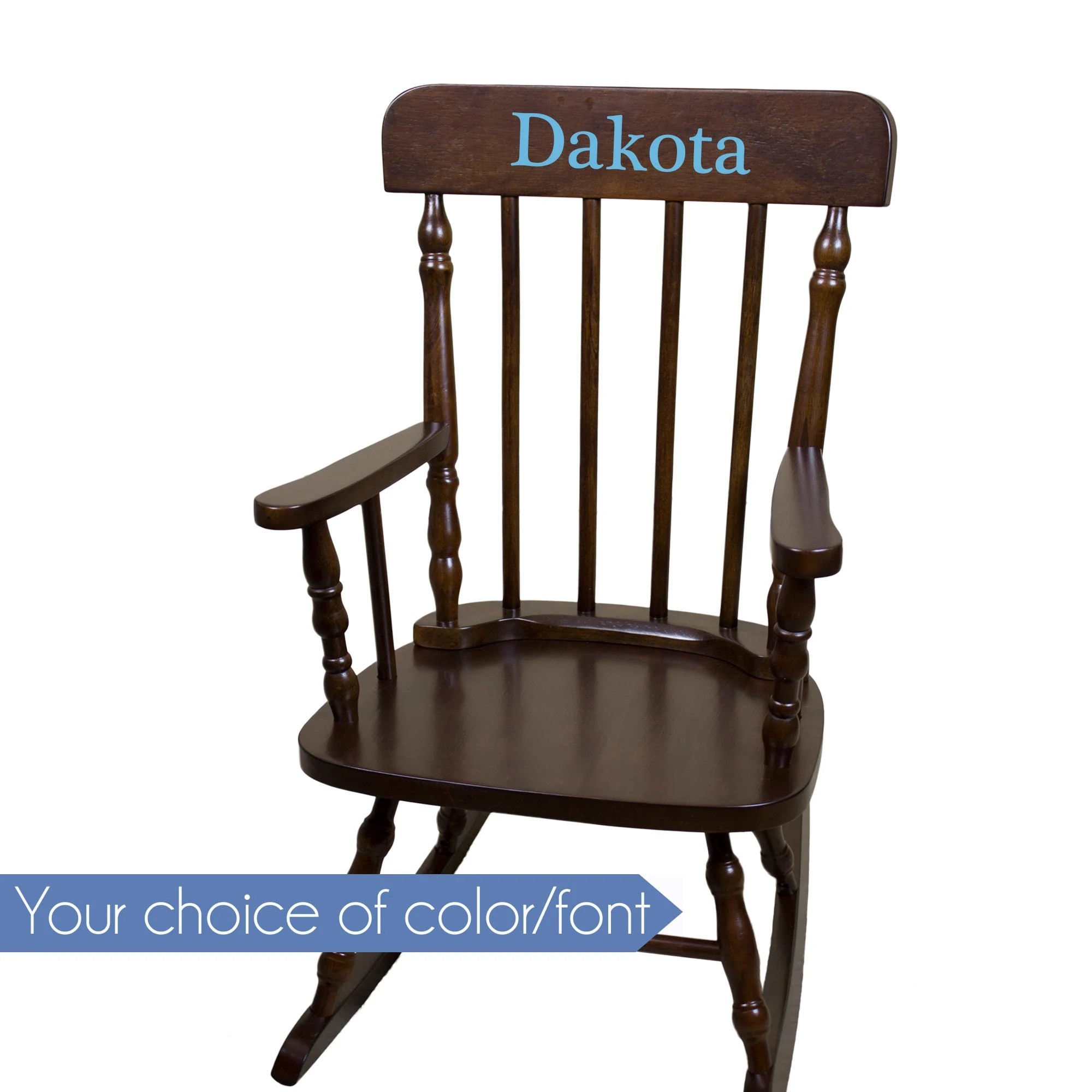 Child Wooden Rocking Chair Personalized Child S Rocking Chair With Just Name Nursery Furniture Girl Boy Kids Custom Spindal Rocking Chairs Rocker Cherry Wood Spin Esp