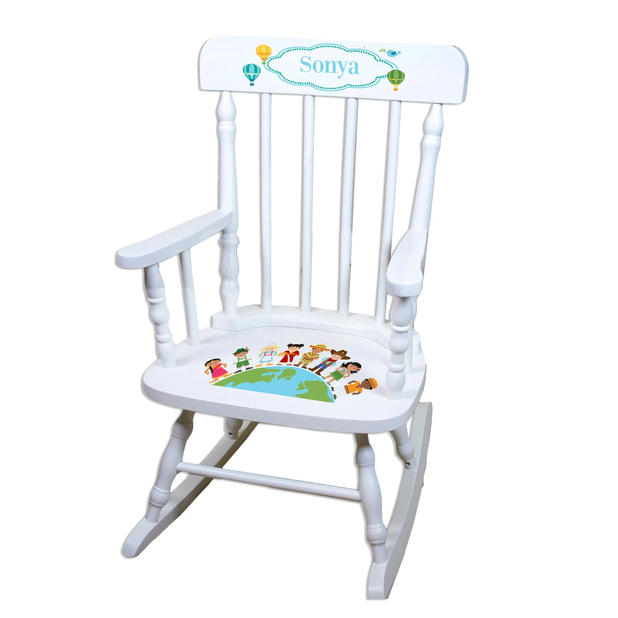 white wood rocking chair bad posture in personalized wooden childrens disney world etsy 50