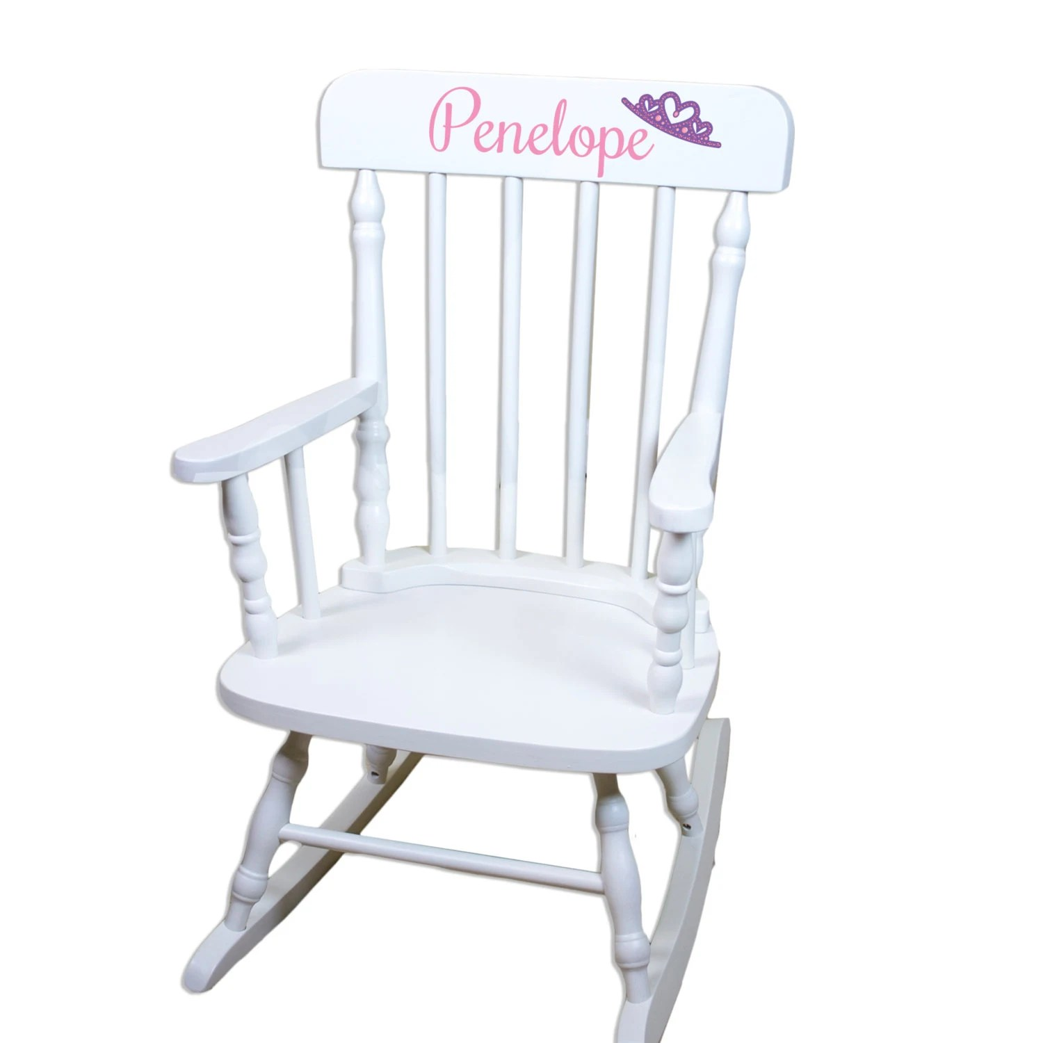 Personalized Chairs For Baby Personalized Childs White Rocking Chair W Name Nursery Furniture Toddler Baby Girl Boy Kids Custom Spindal Rocking Chairs Rocker Spin Whi