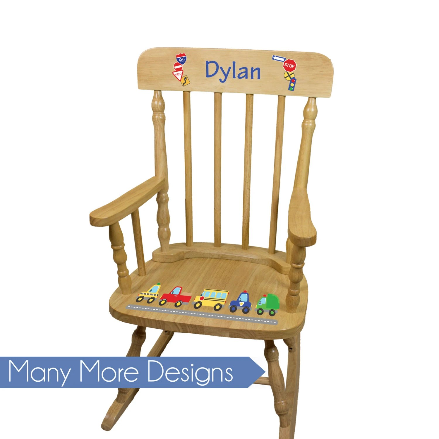 Personalized Chairs For Baby Boys Personalized Wood Rocking Chair Boy Kids Rockers Toddler Baby Custom Spindle Rocker Nursery Furniture Large Chairs Pine Spin Nat