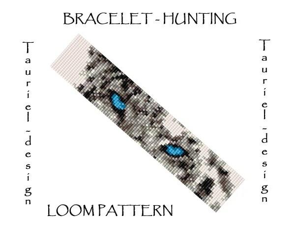 Loom pattern animal bracelet pattern Snow Leopard Hunting