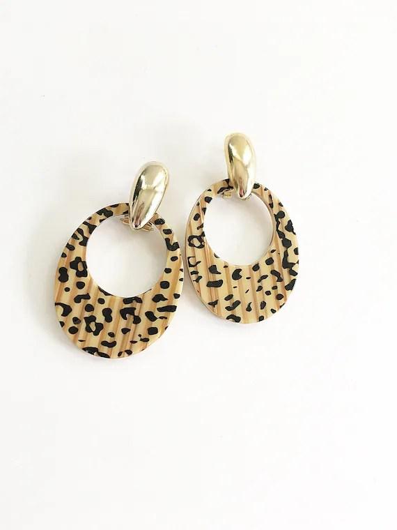 Door Knocker Earrings 90s : knocker, earrings, Leopard, Print, Knocker, Earrings, Vintage, Ani…