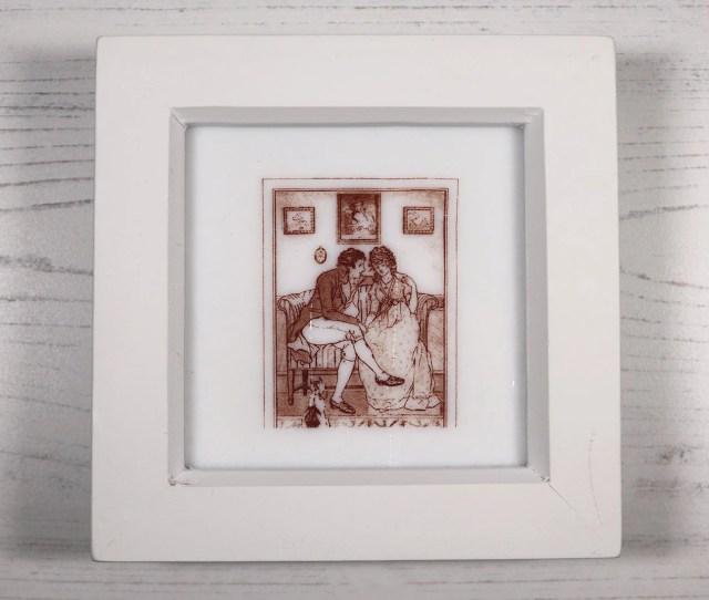 Jane Austen Kiln Fired Glass Picture Sense And Sensibility 1906 Sepia On White Glass White Wooden Frame Small Square Edward Ferr