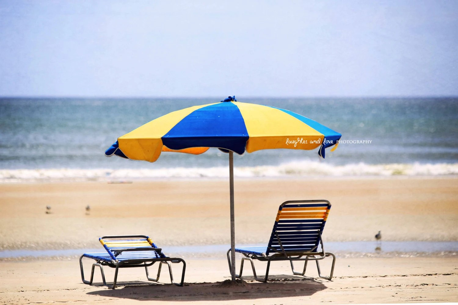 Beach Chairs With Umbrella Blue And Yellow Beach Umbrella Photo Lounge Chairs Florida Photography Tropical Coastal Beach House Home Decor Wall Art Travel Art