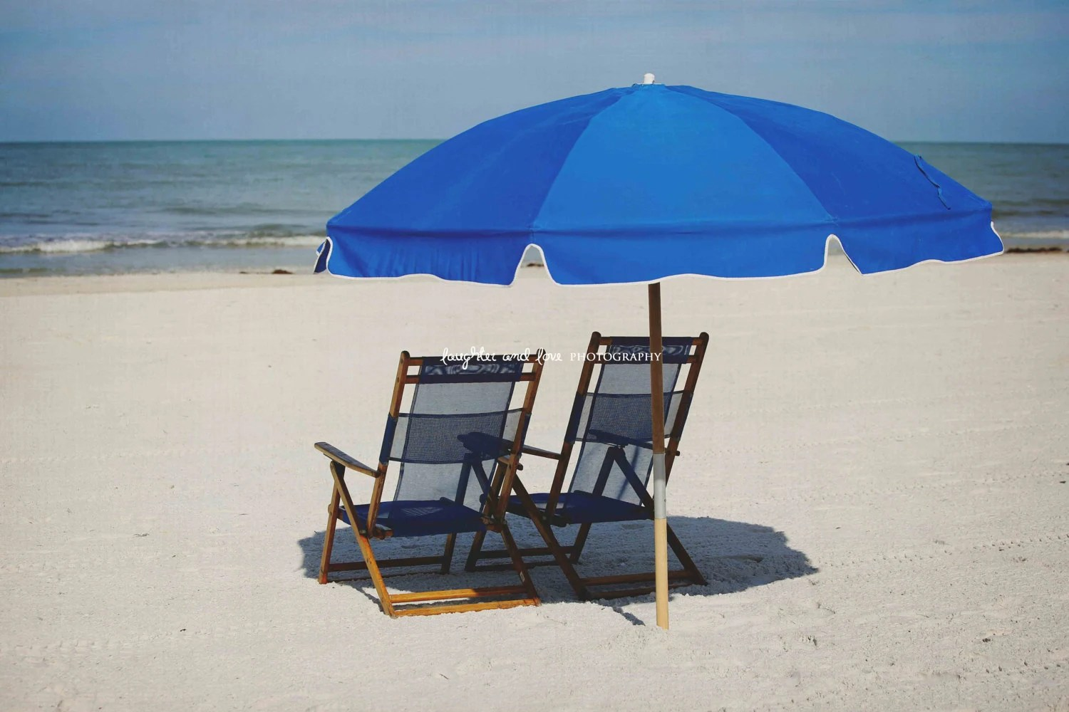 Beach Chairs With Umbrella Blue Beach Chairs Umbrella Photo Beach House Photography Clearwater Ocean Florida Travel Art Tropical Coastal Decor Nautical Home Decor
