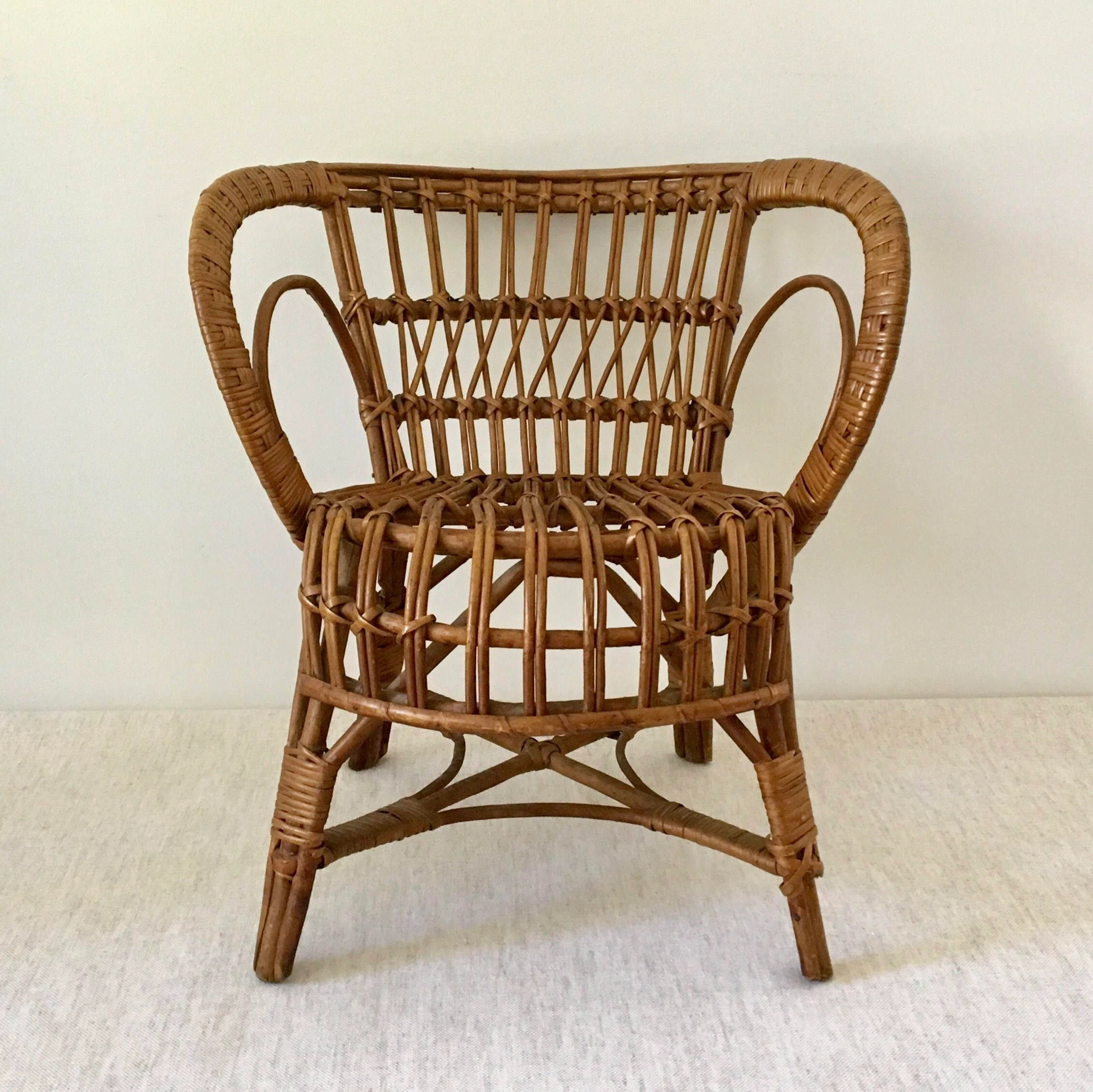 childs rattan chair ultimate video game kids etsy vintage natural child s franco albini style