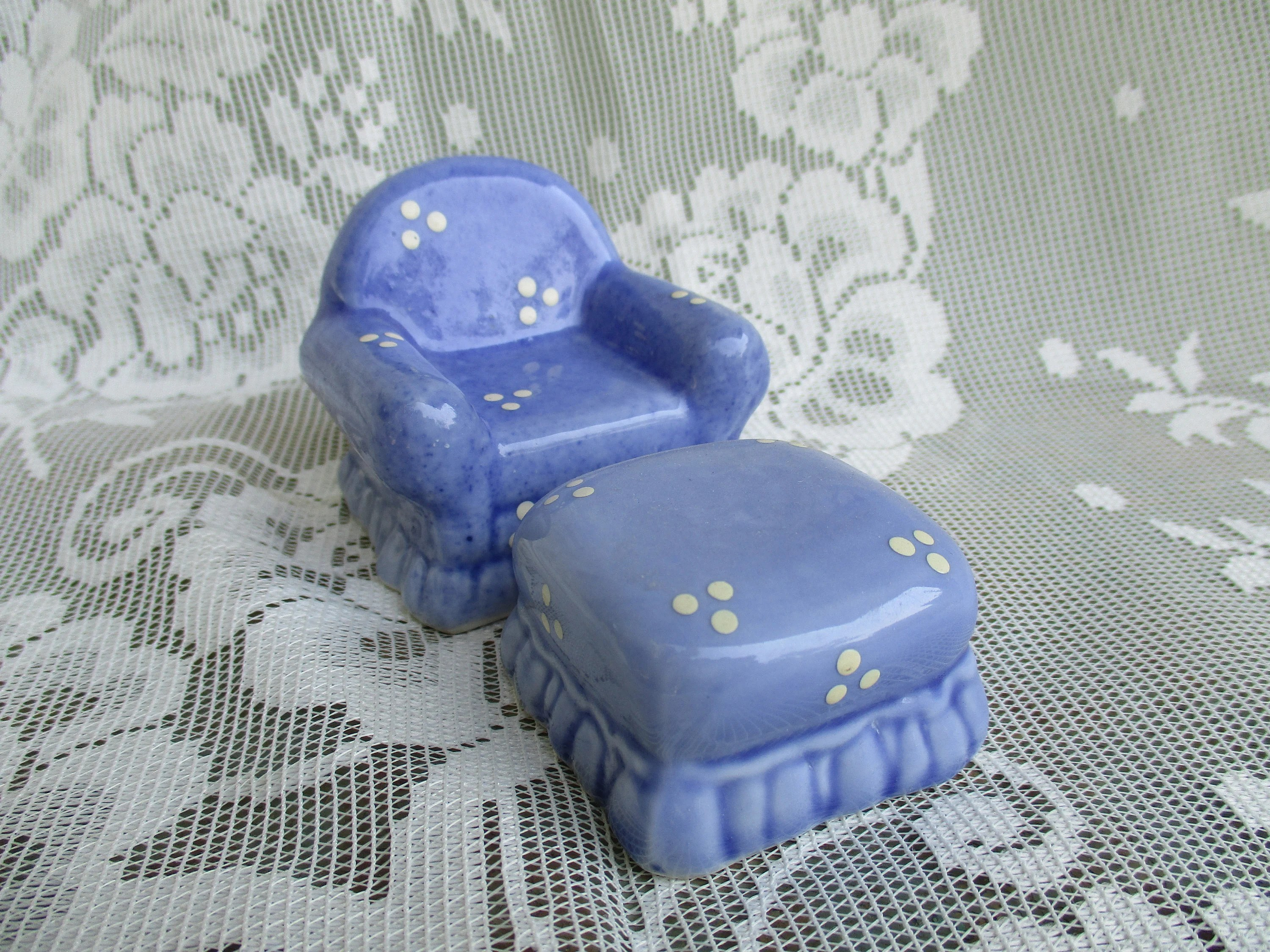 Overstuffed Chair And Ottoman Vintage Miniature Overstuffed Chair And Ottoman Porcelain Blue With White Dots Dollhouse Doll Furniture 2 Piece Set