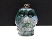 Moss Agate Carved Crystal Skull Pendant