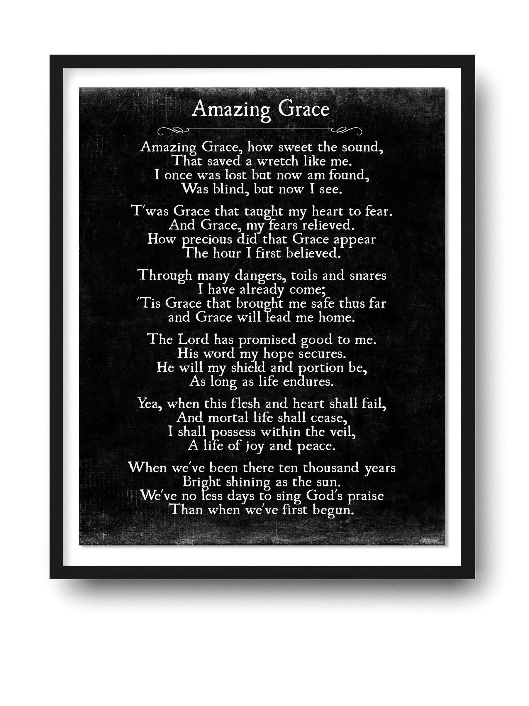 Amazing Grace Lyrics Print Christian Wall Art Amazing