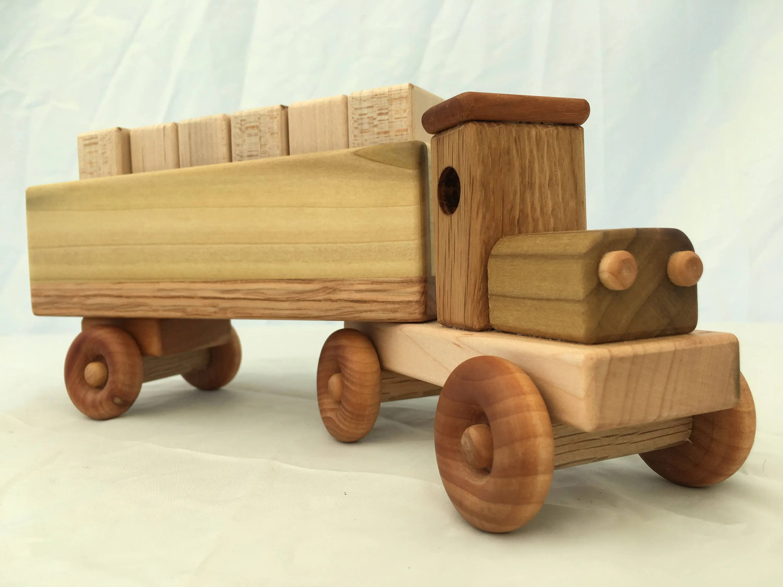 Handmade Wooden Toy Cargo Truck W Plain Blocks Etsy