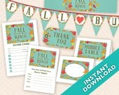 Fall in Love with Bunco, Instant Download Printable Bunco Party Decoration Set  (a.k.a. Bunko, score card, score sheet)