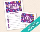 Halloween Bunco Scorecard and Table Card Set (a.k.a. Bunko, score card, score sheet)
