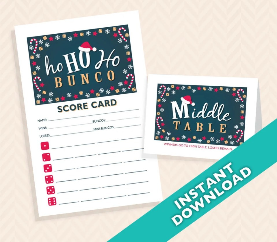 Ho Ho Ho Santa Bunco Scorecard and Table Marker Set (a.k.a. Bunko, score card, score sheet)