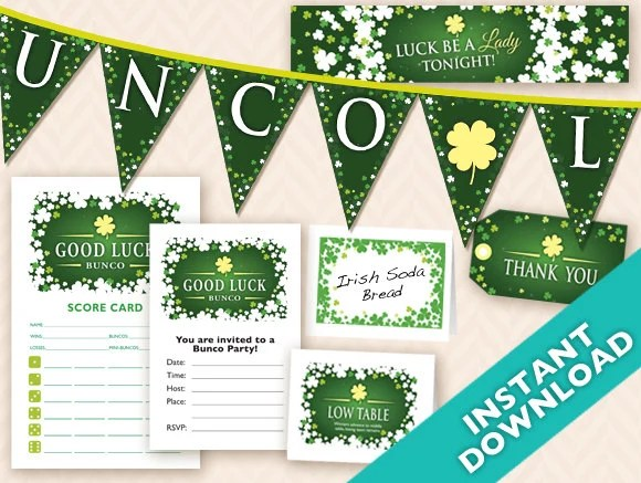 St. Patrick's Day Deluxe Bunco Set, Printable DIY Irish Bunco Set