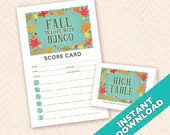 Fall in Love with Bunco - Printable Autumn Bunco Score and Table Card Set (a.k.a. Bunko, score card, score sheet)