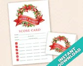Christmas Bunco Scorecard and Table Marker Set (a.k.a. Bunko, score card, score sheet)