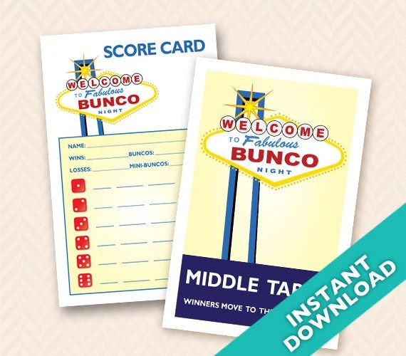 Printable Las Vegas Theme Bunco Scorecard and Table Marker Set (a.k.a. Bunko, score card, score sheet)