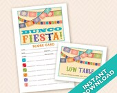 Downloadable Mexican Fiesta Printable Bunco Score and Table Card Set (a.k.a. Bunko, score card, score sheet)