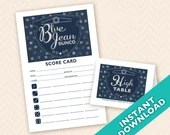 Downloadable  Blue Jean Bunco Printable Bunco Scorecard and Table Marker Set (a.k.a. Bunko, score card, score sheet)