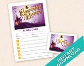 Bewitched Bunco - Printable Halloween Bunco Score and Table Card Set (a.k.a. Bunko, score card, score sheet)