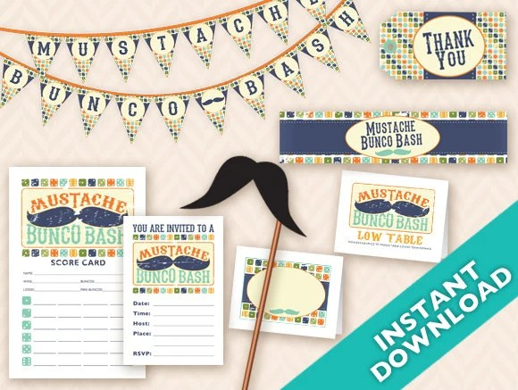 Mustache Bunco Bash Printable Party Decoration Set - Instant Download